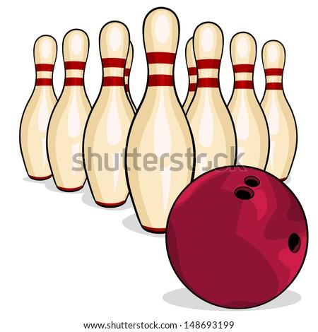 vector bowling pins and bowling ball - stock vector