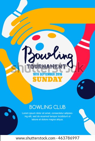 Vector Bowling Tournament Banner Poster Flyer Stock Vector - Bowling event flyer template