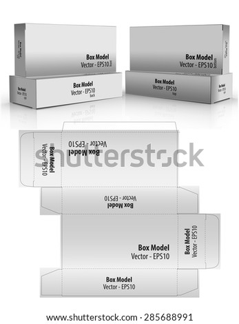 Vector box package with layout and text position to apply new designs - stock vector