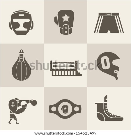Vector Boxing icons - stock vector