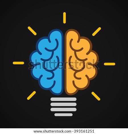 Vector brain bulb shining in the dark. - stock vector
