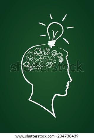 Vector brain, gears and lightbulb - stock vector