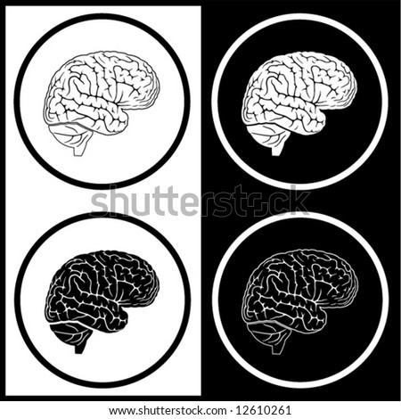 Vector brain icons. Black and white. Simply change. - stock vector