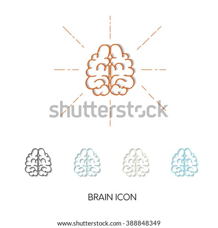 Vector brain icons. 5 stylish thin line icons with different colors. Brain Icons with shadow