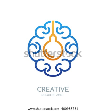 Vector brain logo design. Linear symbol of human brain and  light bulb. Abstract isolated illustration. Design concept for business solutions, high technology, development and innovation, creativity. - stock vector