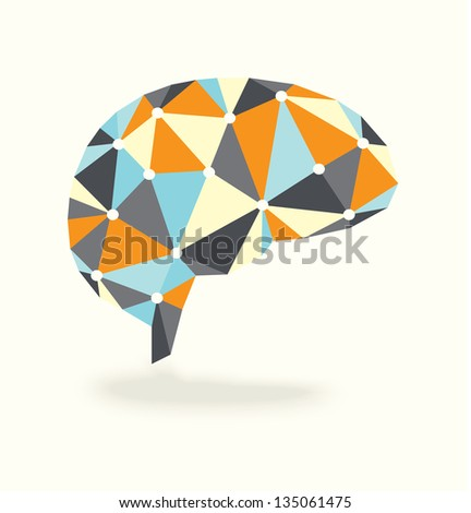 Vector Brain with Synapses Points in Retro Colors - stock vector