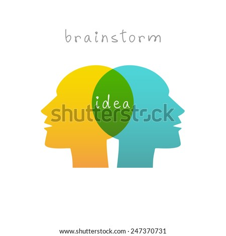 Vector brainstorm icons. Concept of idea. Sign of people co-creativity. Color original simple illustration connect and search for compromise for print, web - stock vector