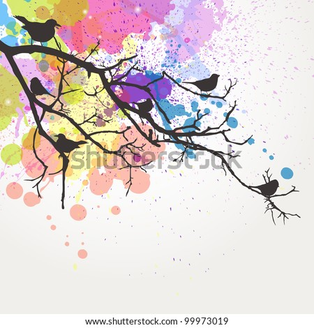 Vector Branch with Birds - stock vector