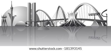 Vector Brasilia city skyline - stock vector