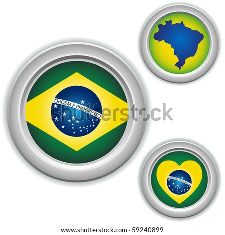Vector - Brazil Buttons with heart, map and flag - stock vector