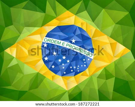 Vector - Brazil Country Flag Geometric Background - stock vector
