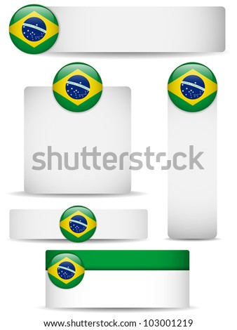 Vector - Brazil Country Set of Banners - stock vector