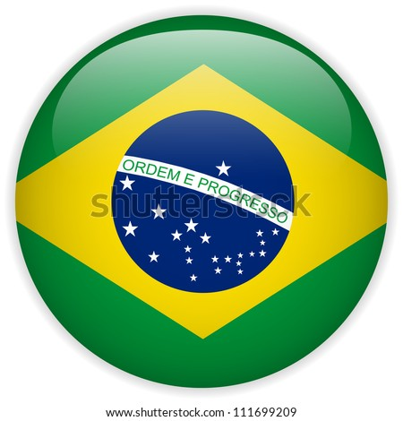 Vector - Brazil Flag Glossy Button - stock vector