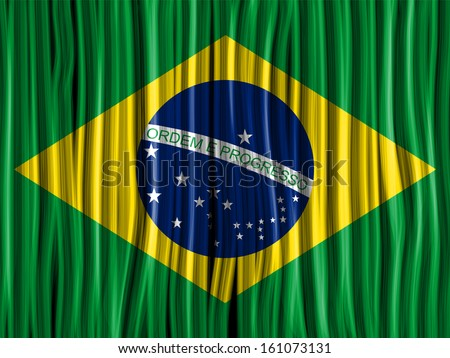 Vector - Brazil Flag Wave Fabric Texture Background