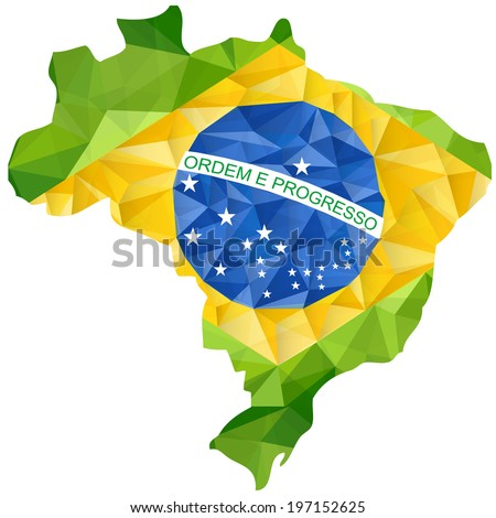 Vector - Brazil Flag Wave Yellow Green Blue Background