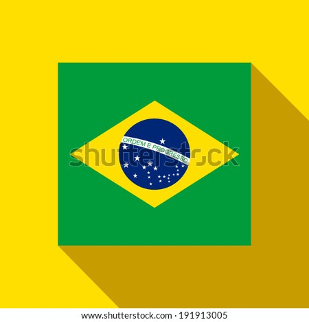 Vector - Brazil 2014 Flat Icon with Brazilian Flag - stock vector