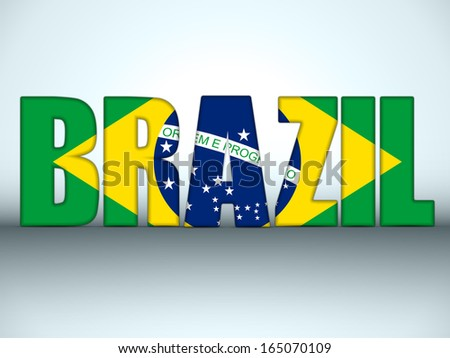 Vector - Brazil Letters with Brazilian Flag - stock vector