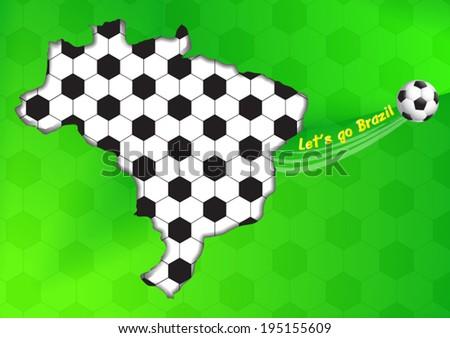 Vector Brazil map with massage let's go Brazil. - stock vector