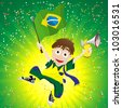 Vector - Brazil Sport Fan with Flag and Horn - stock photo