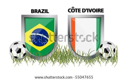 vector brazil vs cote d´ivoire - stock vector