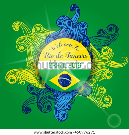 Vector Brazil World Cup Summer 2016 Sport Games Rio de Janeiro brazilian flag colors background with Typographic  Abstract  Waves and Sun Flare - stock vector