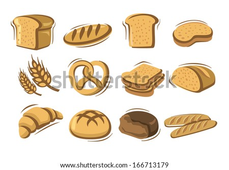 vector bread icons set on white