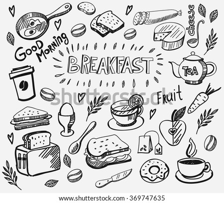 vector breakfast and morning icon set - stock vector