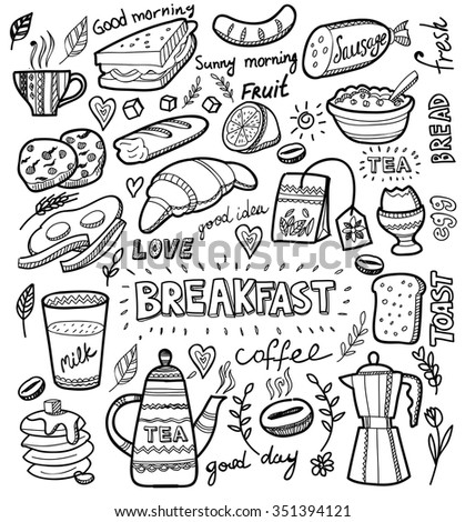 vector breakfast and morning icon set on white