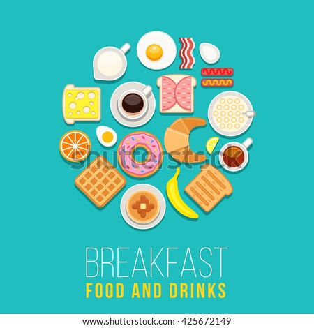 Vector breakfast concept with food and drinks with flat icons in circle composition. Breakfast composition sandwich and omelette, breakfast food bakery illustration - stock vector
