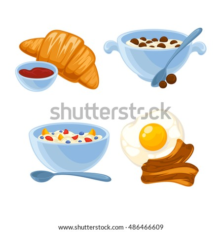 breakfast food set. Icons of healthy food orange juice, eggs and bacon ...