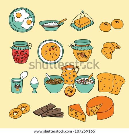 Vector breakfast icons - stock vector
