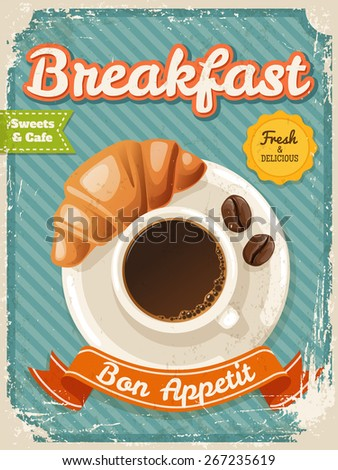 Vector Breakfast poster in vintage style with typography elements
