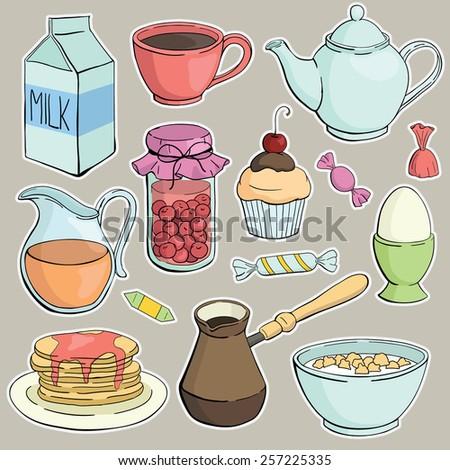 vector breakfast set - stock vector