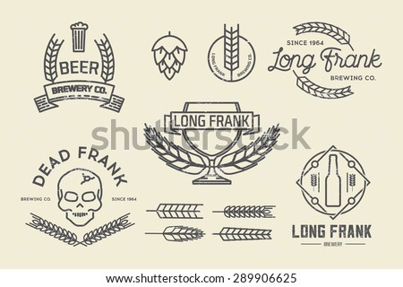 Vector brewery labels and design elements. - stock vector