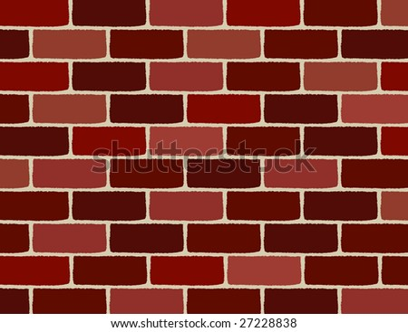 vector brick wall, bricks are with a rough surface - stock vector