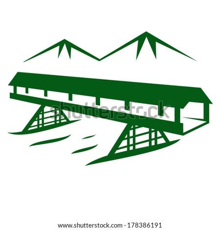 Vector bridge on a background of mountains - stock vector