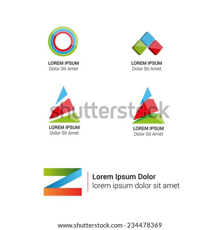 Vector bright abstract logos set. Corporate icons. - stock vector