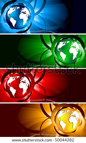 Vector bright banners with globe; clip-art