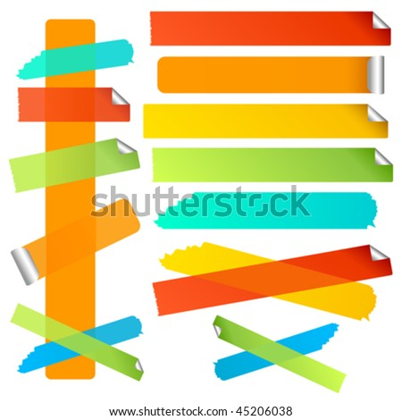 Vector Bright colorful labels or strips. Torn and curled edge variations included. JPG and TIFF versions of this image are also available in my portfolio.