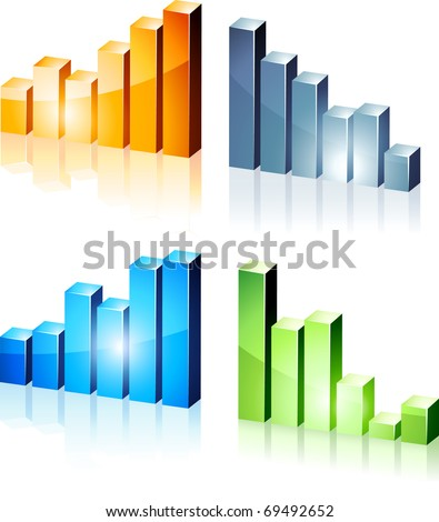 Vector bright 3d graphs. - stock vector