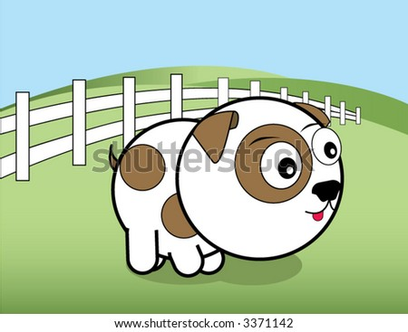 Vector bright eyed puppy - stock vector