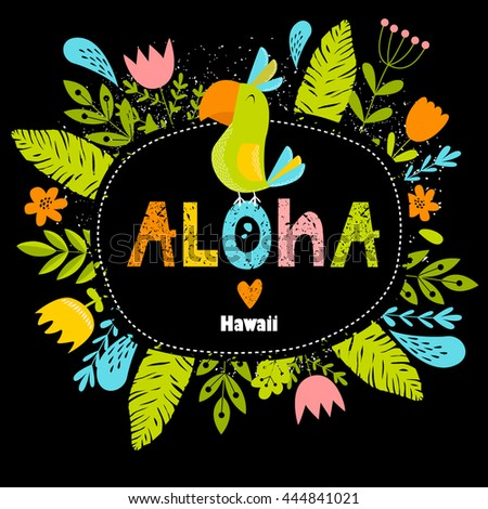 Vector bright font illustration floral frame stock vector vector bright font illustration with floral frame and parrot aloha frame hawaii stopboris Gallery