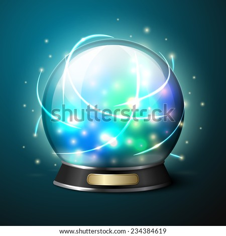 Vector bright glowing crystal ball for fortune tellers.  - stock vector