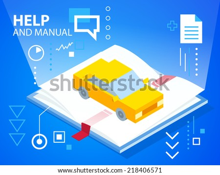 Vector bright illustration help book and car on blue background for banner, web, site, design, advertising, print, poster. Eps 10. - stock vector