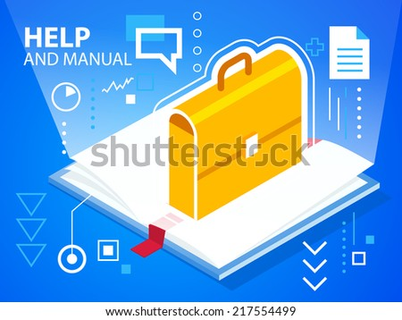 Vector bright illustration help book and work suitcase on blue background for banner, web, site, design, advertising, print, poster. Eps 10. - stock vector