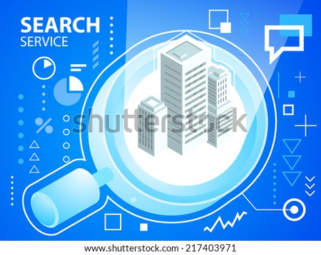 Vector bright illustration search glass and buildings on blue background for banner, web, site, design, advertising, print, poster. Eps 10. - stock vector