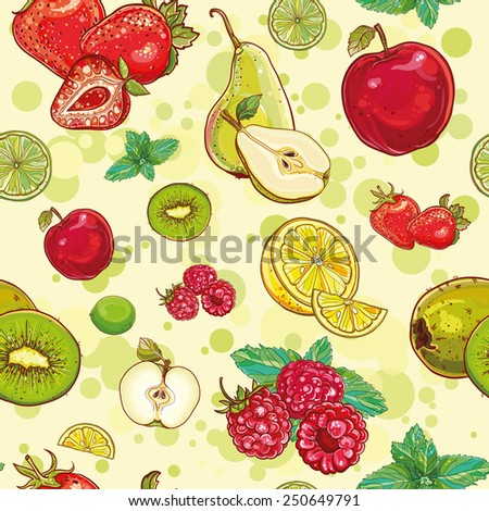 Vector bright seamless pattern with fruits and berries. Apple, kiwi, strawberry, raspberry, pear, lemon, lime, mint. eps 10 - stock vector