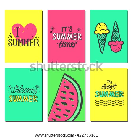 Vector bright summer cards. Beautiful summer banners with hand written text and fruits, ice-cream, watermelon. Journal card. Vector colorful illustration on background.  - stock vector