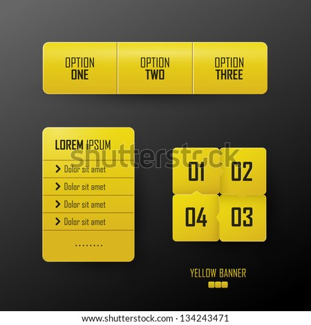 Vector bright yellow banners set - stock vector