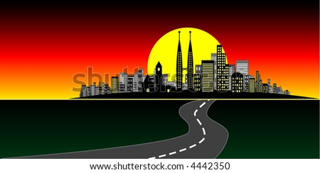 Vector - Brightly lit modern city at sunset. - stock vector